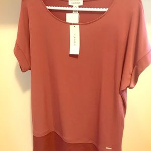 Long Calvin Klein Rose color top, size S tags on